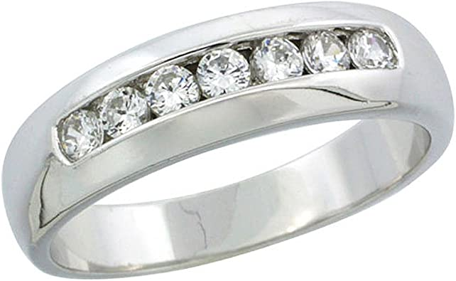 w// 0.03 Carat Brilliant Cut Diamonds Size 14 5mm 3//16 in. Sterling Silver Mens Diamond Band wide