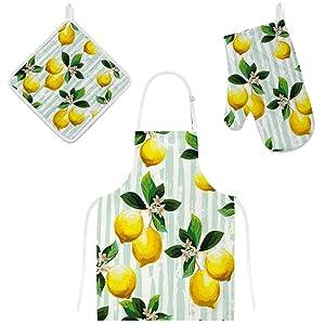 U-Life Kitchen Apron with Pocket Oven Mitt Glove Pot Holder Mat Set Green Yellow Lemon Floral Flower