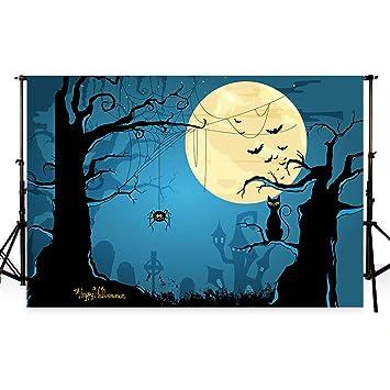 WaW fondo de Halloween para fotografía 10ftx6.5ft (3mx2m) White Moon Night Photocall
