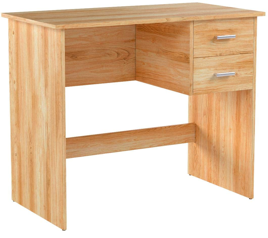OneSpace 50-7005OK Modern Writing Desk with 2 Side Drawers, Oak by OneSpace