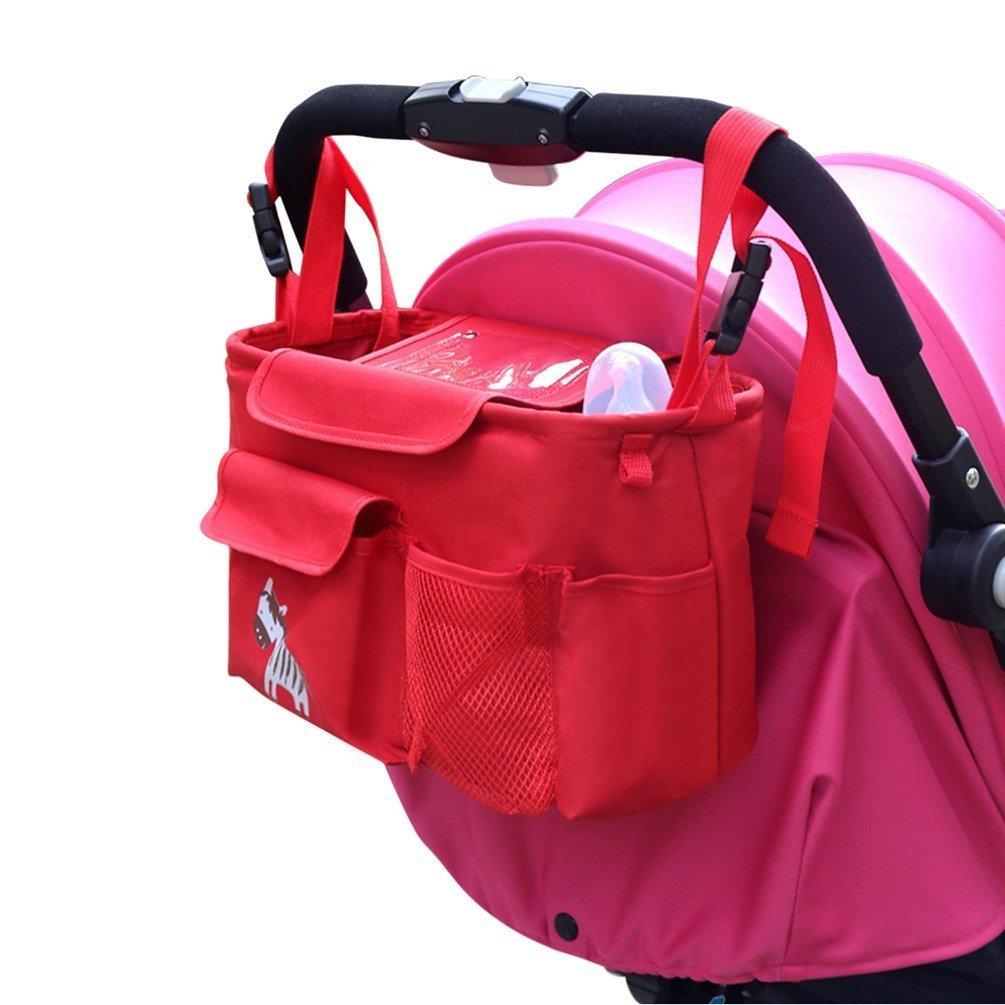 Zebra - Schwarz Oxford Tuch Nylon T Tocas Premium Pram Buggy Kinderwagen Organizer Tasche mit Telefonhalter Schultergurt