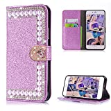 Diamond Case iPhone 6/6S Plus,Cistor Luxury Purple Glitter 3D Pearl Wallet Case iPhone 6 Plus,Shockproof PU Leather Case Love Heart Magnetic Closure Card Slot iPhone 6S Plus