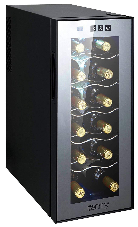 Weinkü hlschrank 33 Liter 12 Flasche Weinkü hler Weinklimakü hlschrank Mini Kü hlschrank Minibar mit Glastü r LED Beleuchtung Camry