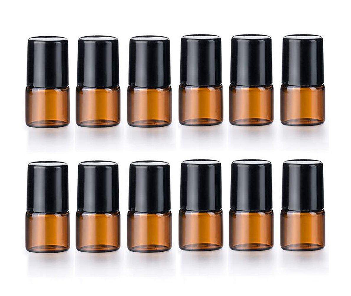 6479d1b42181 Amazon.com: 12 Pcs Essential Oil Glass Roller Bottles Mini Tiny ...