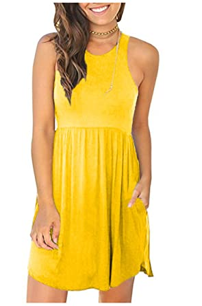 320be7cbcd1e MELANSAY Women s Sleeveless Racerback Loose T Shirt Dress Casual Summer  Dresses with Pockets Yellow