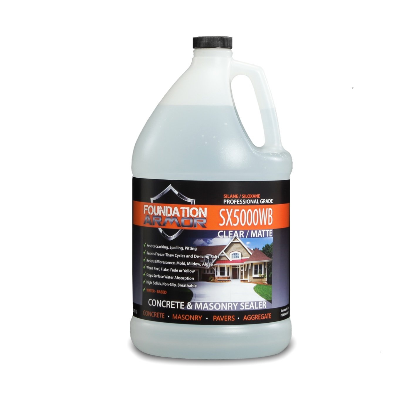 Armor SX5000 WB DOT Approved Deep Penetrating Water Based Silane Siloxane Concrete Sealer, Brick Sealer, Paver Sealer, and Water Repellent Sealer Salt Guard