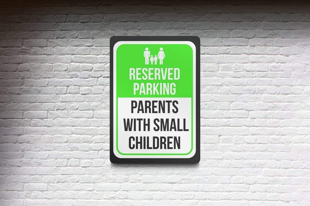 Notice Parking Metal Large Sign Reserved Parking Parents with Large Children Print Green 6 Pack of Signs 12x18