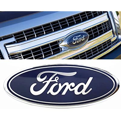 "fit 2004-2014 F150 Front Grille Tailgate Emblem,for Ford 04-14 F250 F350,11-14 Edge,11-16 Explorer,06-11 Ranger Dark Blue Decal Badge Nameplate, Oval 9""X3.5"": Automotive"