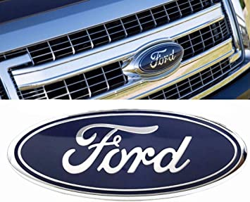 Dark Blue For Ford Oval 9inch Front Grille Rear Tailgate Replacement Logo Emblem Badge Suitable for 2004-2014 F150