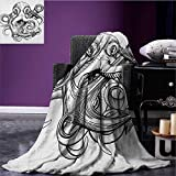 Octopus Printed blanket Illustration of An Octopus Holding A Ships Anchor in A Vintage Woodblock Style minion blanket Black White size:59''x35.5''