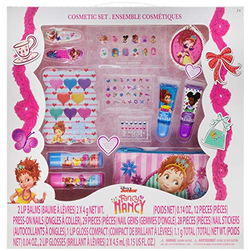 Fancy Nancy Beauty Kit, Kids Washable, Lip balms, glosses, press on nails, gems, stickers, barrettes & -
