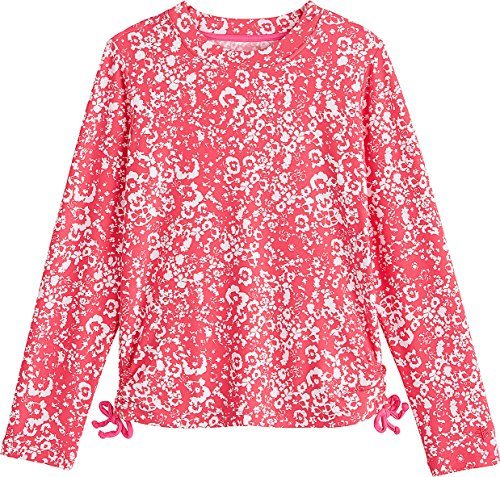 Coolibar UPF 50+ Girls' Ruche Swim Tee - Sun Protective (Small- Coral Floral) by Coolibar (Image #1)