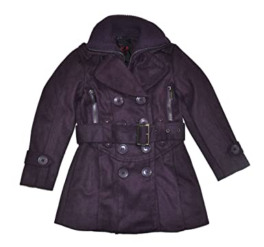 Amazon.com: Yoki Girls Purple Double-Breasted Long Faux Wool Pea ...