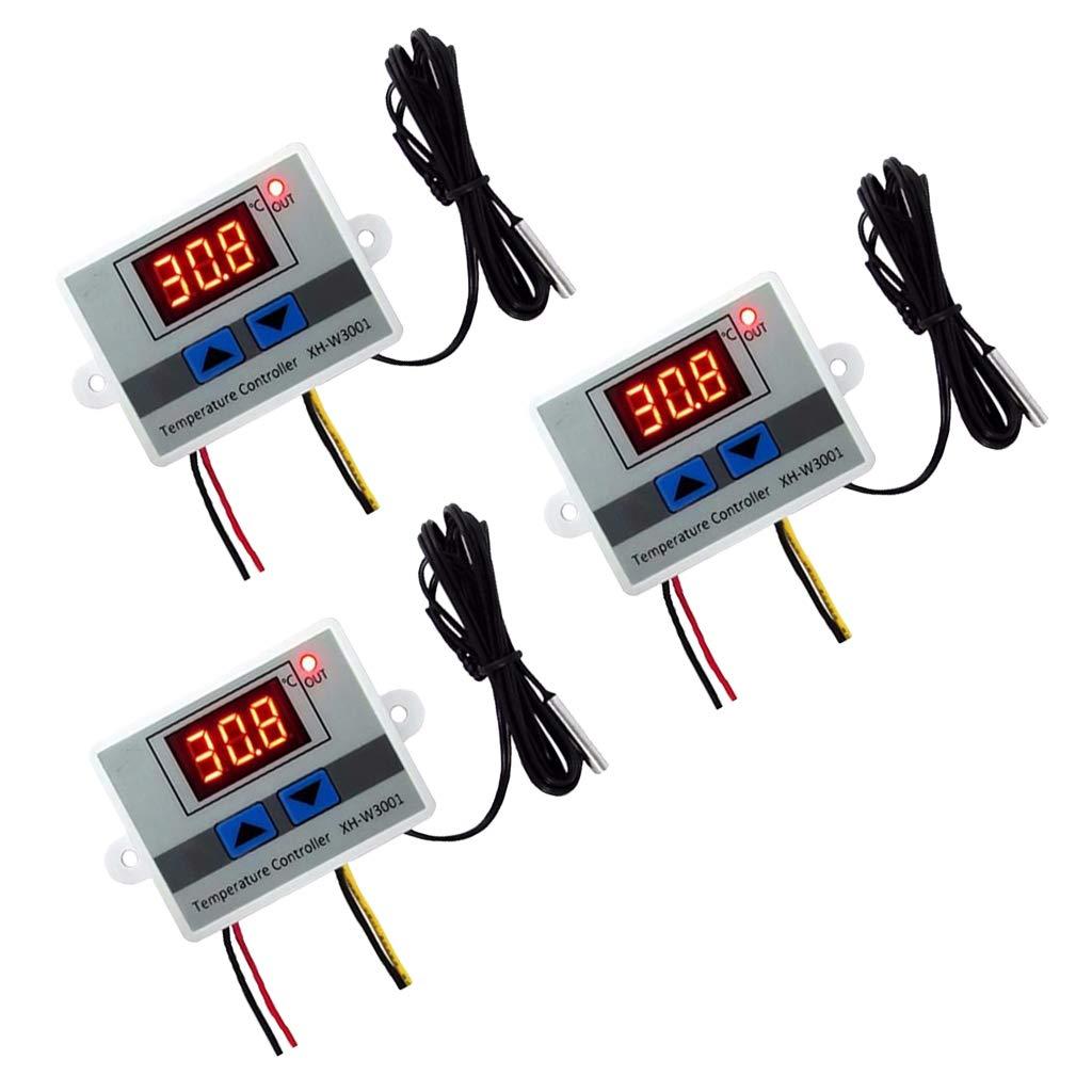 perfk 2pcs Thermostat Num/érique R/égulateur Contr/ôleur de Temp/érature avec Capteur Afficheur LCD Universel 12V+24V 60x45x31mm