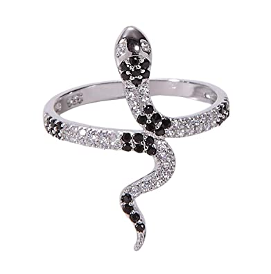f6d7c950d3 Amazon.com: Jenna Hunter CZ Snake Ring for Women 925 Sterling Silver Base Cubic  Zirconia Stones Ring Sizes 6-7: Jewelry