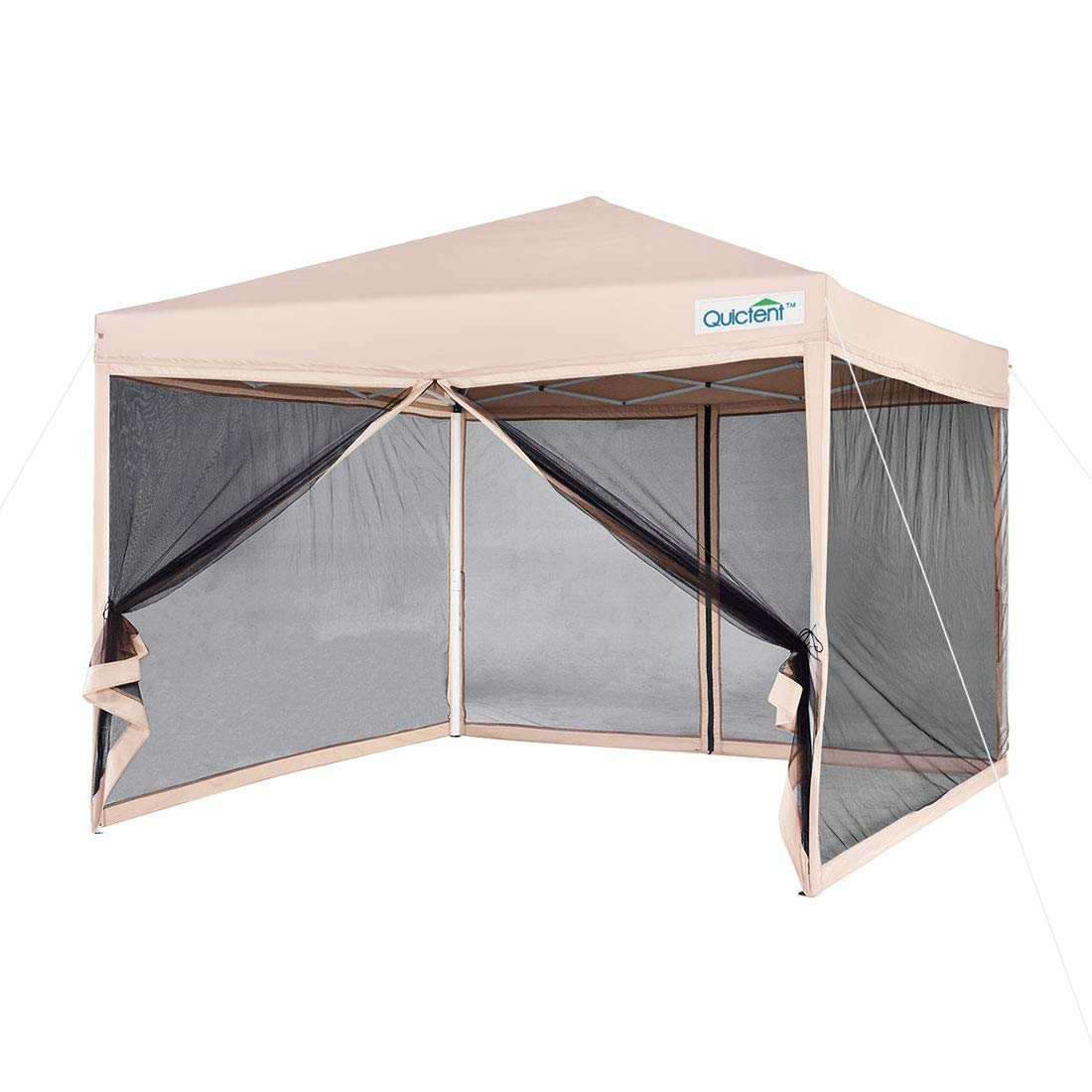 Quictent 8x8 Easy Pop up Canopy with Netting Instant Pop up Screen House Tent Mesh Sides Waterproof (Tan) by Quictent