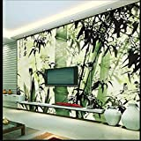 Lwcx Large 3D Wallpaper For Walls Mural 3D Ink Bamboo Reported Safety Sofa Bedroom Wallpaper Backdrop Papel De Parede Green 350X245CM