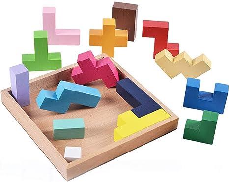 Rclhh Tetris de Madera Puzzle 3D Tangram Jigsaw Bloques rusos de ...