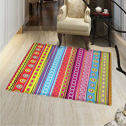 Striped Area Rug Colorful Retro Stripes Circles Boho Pattern s Style Ethnic Rainbow Art Print Indoor/Outdoor Area Rug 2'x3' Multicolor (Rug Circle Stripe)