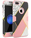 iPhone 7 Plus Case- SKYLMW [ Shock Resistant Series ] Three Layers Rugged Heavy Duty Shockproof Hybrid Full-Body Protective Case for Apple iPhone 7 Plus Marble Rose Gold