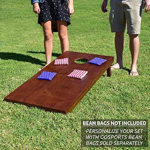 GoSports Stained Regulation Size Wooden Cornhole Set with Dark Brown Varnish   Includes Carrying Case