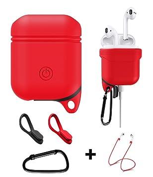vmojo Airpods Case, Funda de silicona Carcasa para Apple airpod, resistente al agua, golpes con Airpods silicona banda [Color Rojo]: Amazon.es: Electrónica