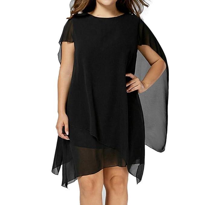 Cinnamou Mujer Vestido de Gasa Mangas Murciélago Cuello redondo Por encima de las rodillas Minifalda Talla