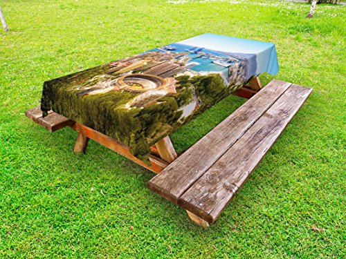 Lunarable Landscape Outdoor Tablecloth, Aerial View of Malaga with Bullring and Harbor Spain Traditional European City, Decorative Washable Picnic Table Cloth, 58 X 84 Inches, Multicolor by Lunarable