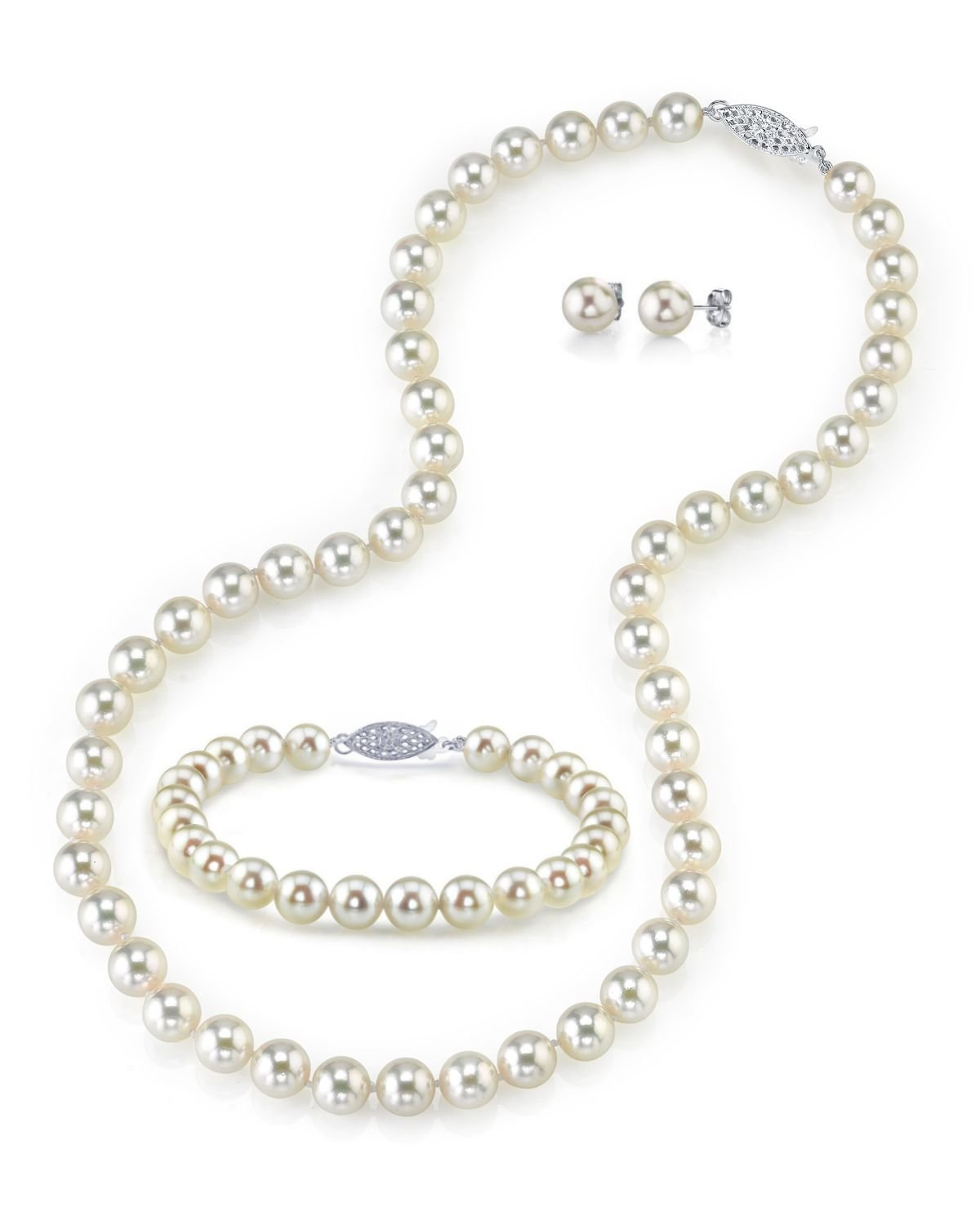 14K Gold 6.0-6.5mm White Akoya Cultured Pearl Necklace, Bracelet & Earrings Set, 18'' - AAA Quality by The Pearl Source