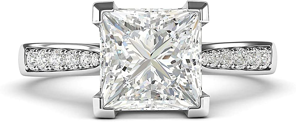 14k White Gold Solitaire 1 5ct Simulated Princess Cut Diamond Engagement Ring With Side Stones Promise Bridal Ring Amazon Com