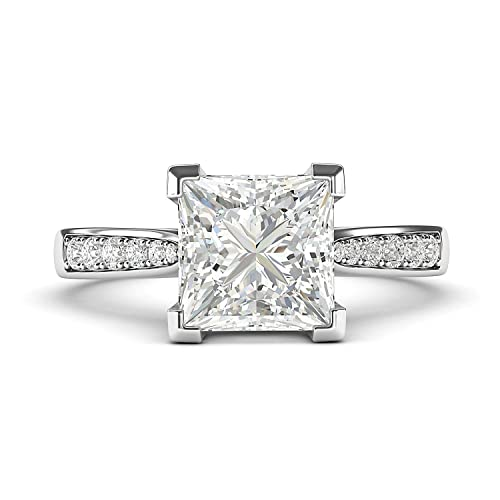 02e4b2530caaa 14k White Gold Solitaire 1.5ct Simulated Princess Cut Diamond Engagement  Ring with Side Stones Promise Bridal Ring