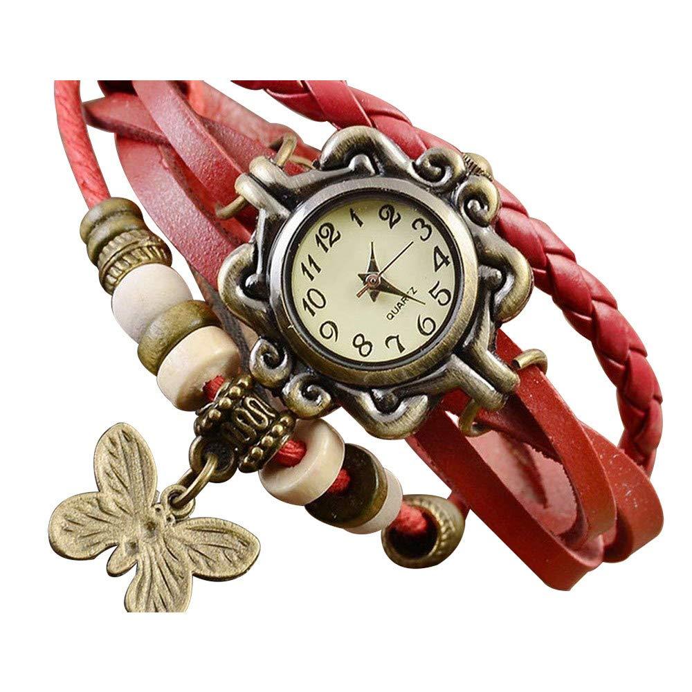 Pocciol Brown Retro Weave Wrap Lady Bead Butterfly Dangle Bracelet Bangle Quartz Wrist Watch (Red)