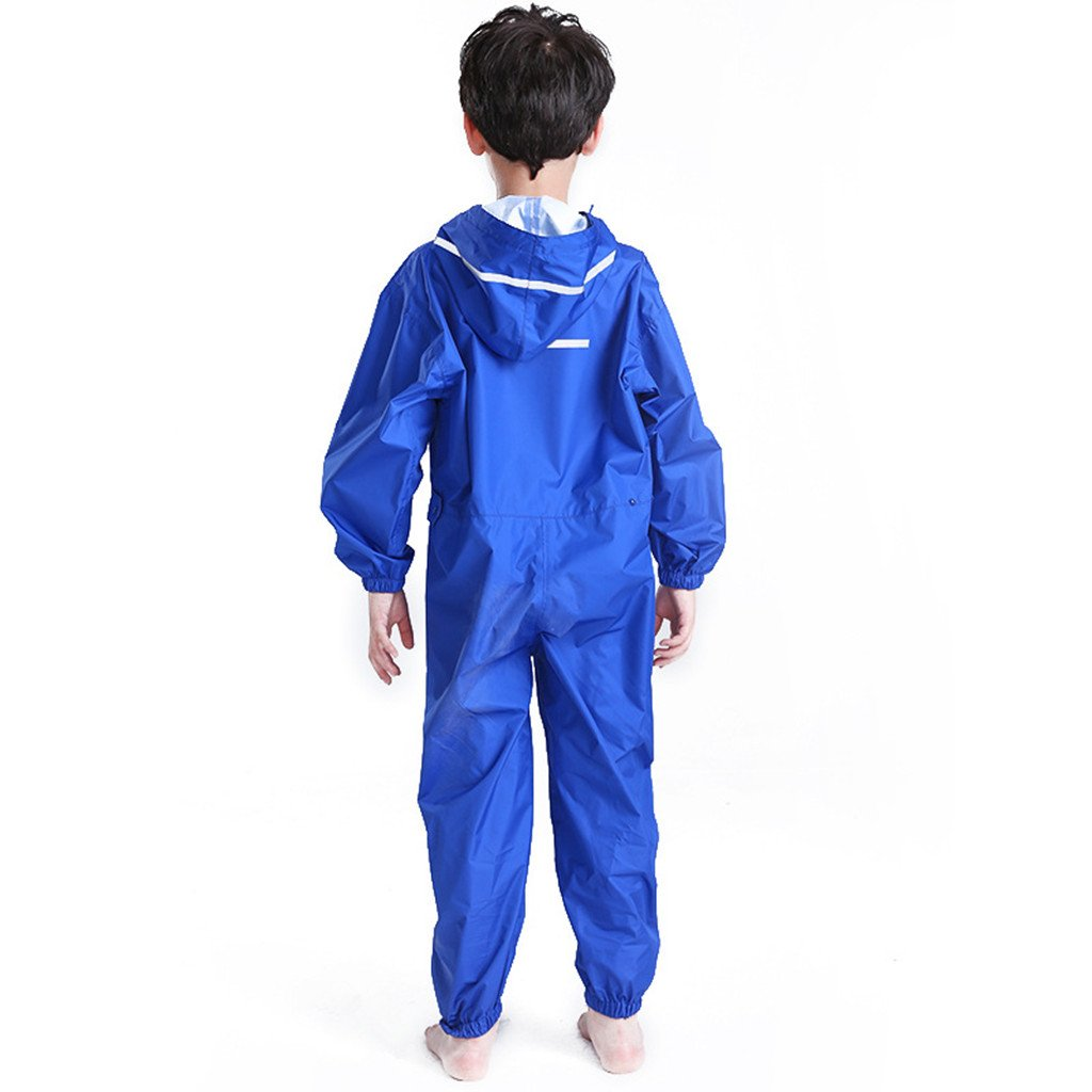 JiAmy Kids Baby One Piece Rainsuit Waterproof Coverall with Hood Jumpsuit 2-12 Years