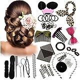 Hair Accessories Best Deals - 45PCS Hair Styling Kit LuckyFine Hairdresser Magic Hair Clip Styling Pads Foam Sponge Bun Donut Hair Clip Accessory Tool