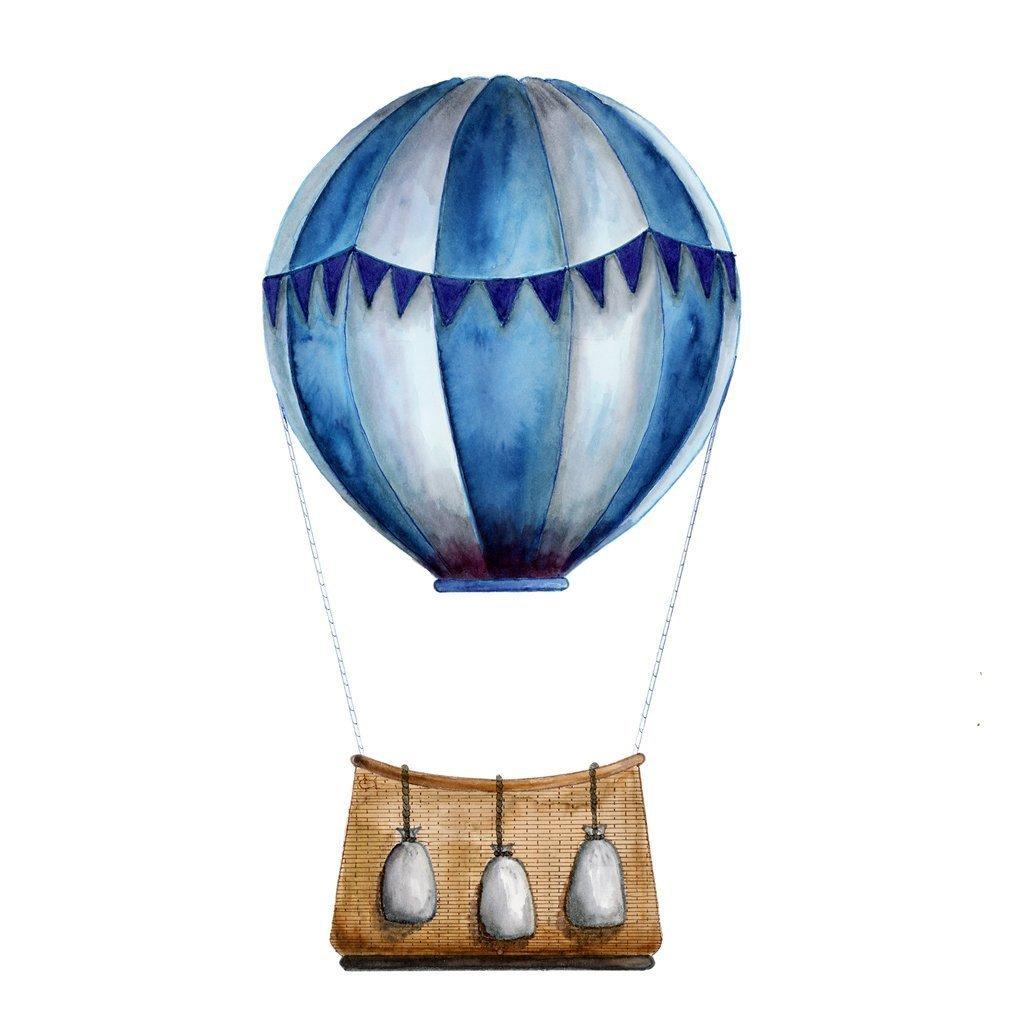 Amazon Com Blue Hot Air Balloon Print Nursery Prints Hot Air