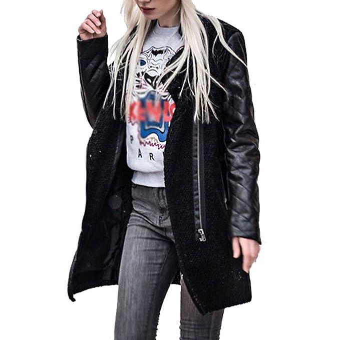Longra Abrigo con Cremallera, Mujeres Cremallera Sudadera con Capucha Chaqueta Larga con Capucha Estilo Casual Jacket Cuero Sportswear