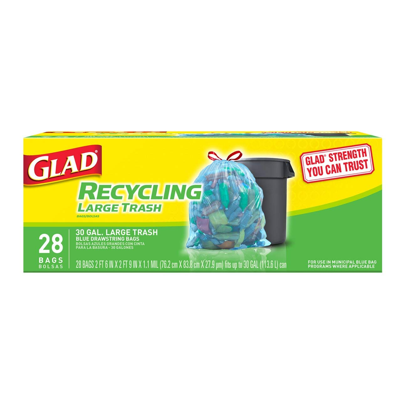 Glad Large Drawstring Recycling Bags - 30 Gallon Blue Trash Bag - 28 Count by Glad