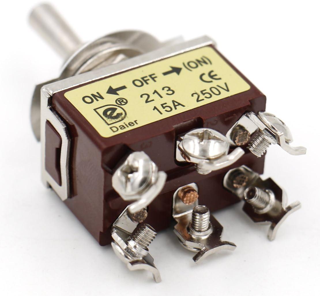 heschen Metall Kippschalter DPDT ON//OFF// Seite Momentary 3/Position 15/A 250/VAC CE On