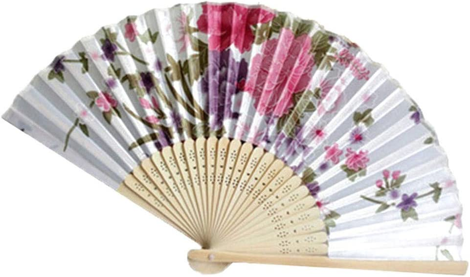 YINGYUE Vintage Pretty Chinese Style Flower Pattern Folding Handheld Fan Dance Wedding Craft Gift 1#