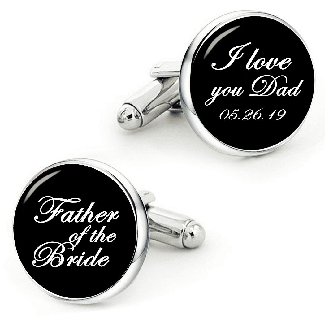 Kooer Father of The Bride Cufflinks I Love You Dad Handmade Custom Wedding Personalized Cuff Links (Style 1) (style 1)