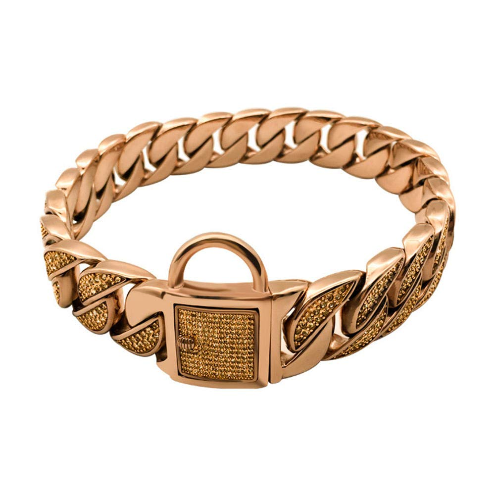 DUPFY 32mm Wide 18K Rose Gold with Diamond Buckle Buckle Hip Hop Tone Curb Cuba Link 316L Stainless Steel Dog Choke Chain Collar 10-30 Inches 26inch(66cm) by DUPFY
