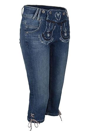 Country-Line Damen Damen Jeans Lederhosenoptik 3 4, Blau,  Amazon.de   Bekleidung 0be05e8c04