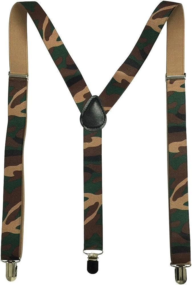AINOW Unisex Camouflage Suspenders Y-Back Adjustable Elastic Suspenders Shoulder Strap
