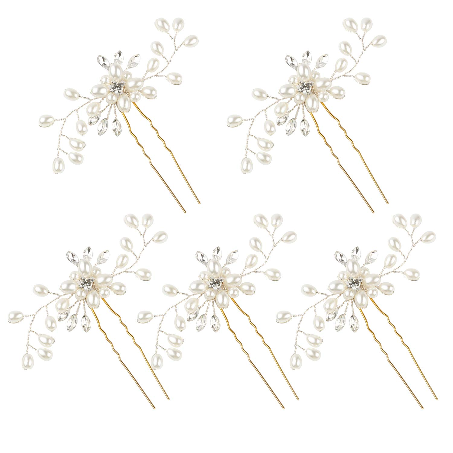 WBCBEC 5 Pack Wedding Bridal Pearl Flower Crystal Hair Pins for Women and Girls