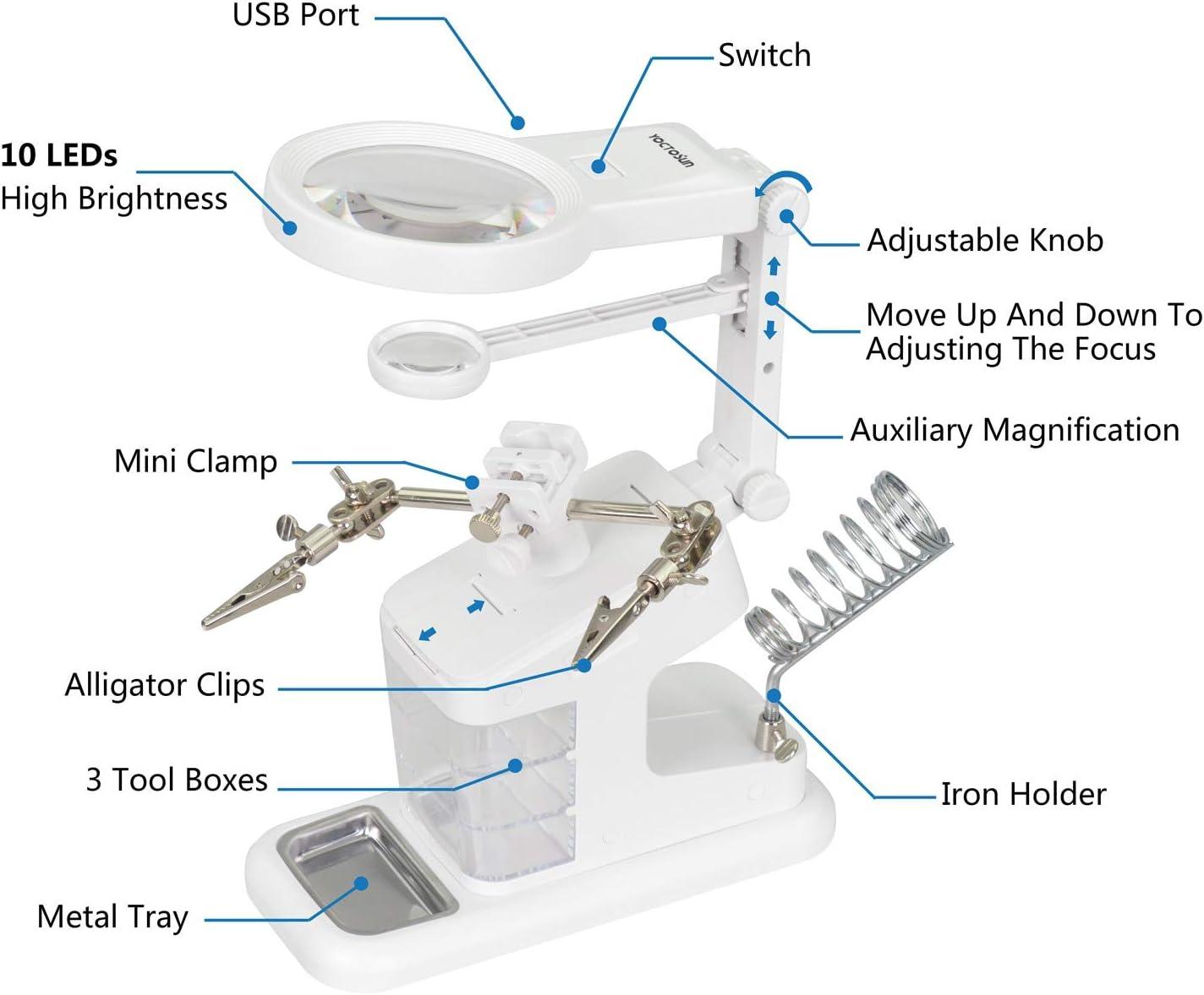 Lente dingrandimento multifunzionale 3.5x Ingrandimento 12x Lettore dingrandimento a LED per accessibilit/à a LED Clip per ferro Supporto per saldatore ausiliario