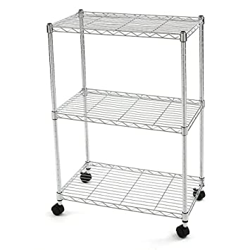 Finnhomy 3 Tier Heavy Duty Wire Rack Shelving With Wheels,Metal Adjustable  Rolling Shelving Unit
