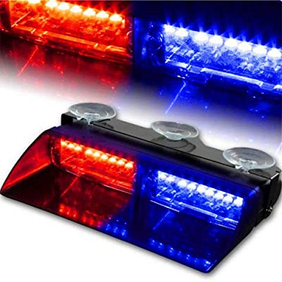 NISUNS 16 LED High Intensity LED Law Enforcement Emergency Hazard Warning Strobe Lights 18 Modes for Interior Roof/Dash/Windshield with Suction Cups (Red/Blue): Automotive