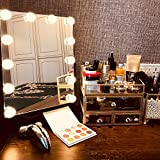 Hollywood Style Lighted Vanity Makeup Mirror with 12 x 3W Dimmable LED Bulbs Smart Touch Dimming Adjustable Control Design, Makeup Cosmetic Mirrors table set with Lights Steel Frame, White