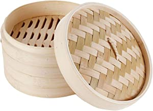 Home 8 Inch Bamboo Steamer for Cooking Vegetables and Dumplings - Classic Traditional 2 Tier Design - Healthy Food Prep - Great for Dim Sum, Chicken, Fish, Veggies - Steam Basket - Natural