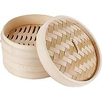 Cocina de vapor de bambú natural con dos capas y una tapa, utilizada para verduras, dim sum, gnocchi (20 cm)